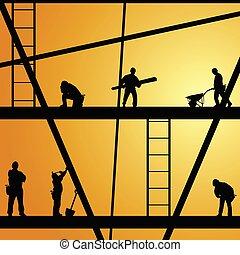 arbeit, baugewerbe, vektor, arbeiter, abbildung