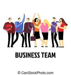 arbeitende , geschäftsmenschen, freigestellt, characters., vektor, hintergrund, mannschaft, weißes, karikatur