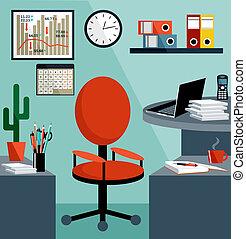 Arbeitsplatz mit Bürosachen, Ausrüstung, Gegenständen.