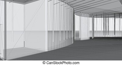 Architektur 3D-Baubau abbrechen. Konzept - moderne Architektur und Design.