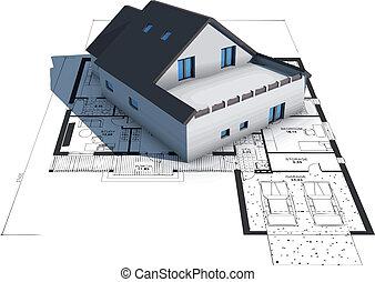 Architektur-Modelhaus auf den Bauplänen