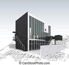 Architekturmodellhaus mit Plan und Plänen. Vector