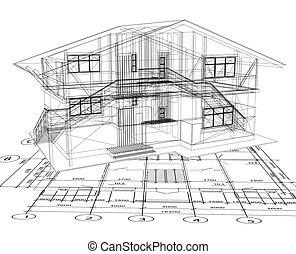 Architekturpläne eines Hauses. Vector