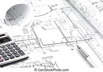 Architekturzeichnung und Instrumente