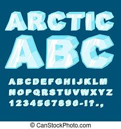 Arktis ABC. Icy-Schriftbriefe. Blaues kaltes Alphabet