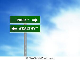 Armes und wohlhabendes Straßenschild
