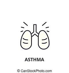 Asthma dünne Linie Icon, Zeichen, Symbol, Illustation, lineares Konzept, Vektor.