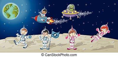 astronaut, charaktere, karikatur