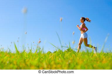 athletische, frau, trainieren