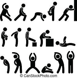 athletische, strecken, übung, leute