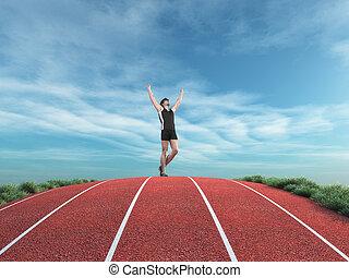 Athletischer Läufer erhebt seine Hände zum Himmel