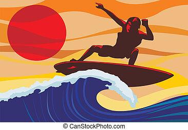 Auf der Welle - Surfer