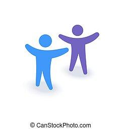 auf., familie, leute, firma, hände, zwei, symbol., mannschaft, logo, icon., versammlung, oder