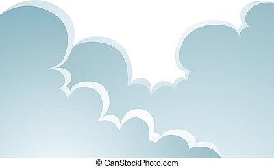 aufgedunsen, wolkenhimmel, karikatur