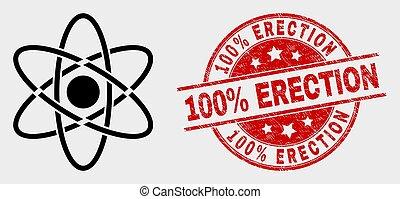 aufrichtung, grunge, briefmarke, 100%, vektor, atom, ikone