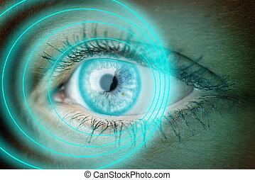 Auge mit blauen Ringen.