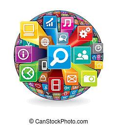 Aus einem sozialen Medien- und Computer-Icon