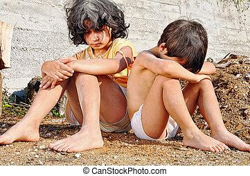 ausdruck, armut, poorness, kinder