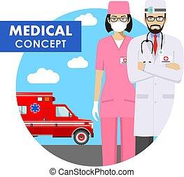 ausführlich, wohnung, frau, illustration., notfall, doktor, auto, medizinische abbildung, uniform, vektor, hintergrund, krankenwagen, concept., style., mann