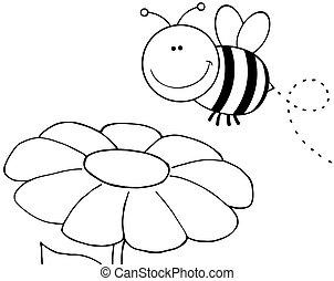 Ausgegrenzte Bienen fliegen über Blumen