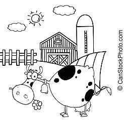 Ausgezeichnete gefleckte Kuh, die einen Gänseblümchen isst