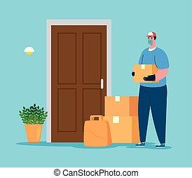 auslieferung, contactless, botenservice, arbeiter, pakete, tür, 19, sicherer kasten, covid, daheim