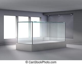 ausstellung, nische, scheinwerfer, schaukasten, glas, galerie, 3d