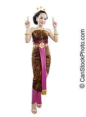 ausstellung, tanz, java, etwas, asiatische frau, national kost�m