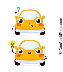 auto, auto, frage, glücklich, reizend, gelber