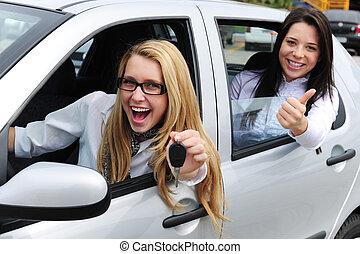 auto, frauen, rental:, fahren, neu