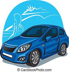 auto, m�dchen, modern