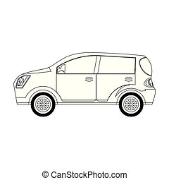 auto, modern, ikone