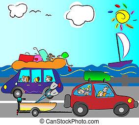auto, reisen, familie, glücklich