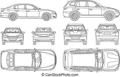 Auto sedan und suv line ziehen vier alle Blick auf die Rückseite Versicherung, Miete Schaden, Zustandsbericht Form Blaupause.