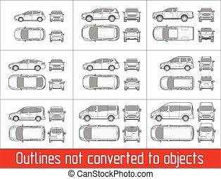 auto, skizzen, kleintransport, ansicht, not, alles, gegenstände, zeichnung, verwandelt, sedan, suv