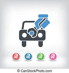 auto, unterstützung, begriff, ikone