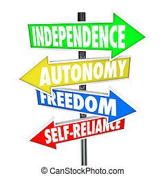 autonomie, freiheit, pfeile, zeichen, straße, self-reliance, unabhängigkeit