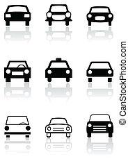 Autosymbol oder Straßenschildvektor eingestellt.