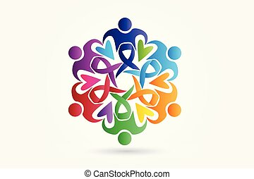 Awareness Teamwork Menschen Logo Vektor.