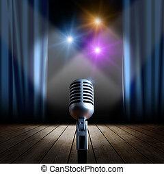Bühne und Retromikrofon