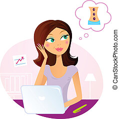 Bürofrau träumt von Massage