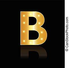 B Buchstabe mit leuchtenden Lichtzeichen.