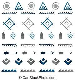 b, stammes-, pattern., seamless, hand, aquarell, ethnisch, gezeichnet, abstrakt