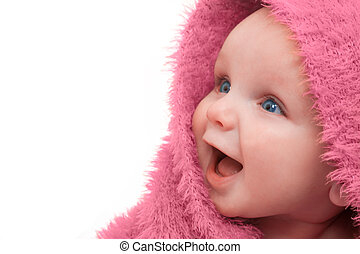 Baby in rosa Decke.