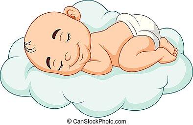 baby, karikatur, wolke, eingeschlafen