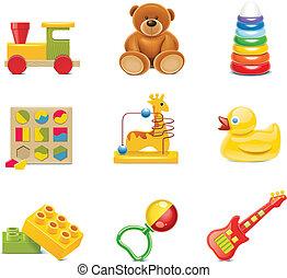 baby- spielzeug, icons., vektor, spielzeuge