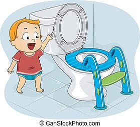 baby, toilette, spülen