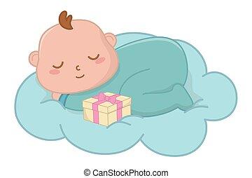 baby, vektor, wolke, abbildung, eingeschlafen