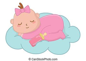 baby, wolke, eingeschlafen