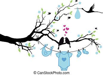 Babyjunge mit Vögeln auf Baum, Vektor.